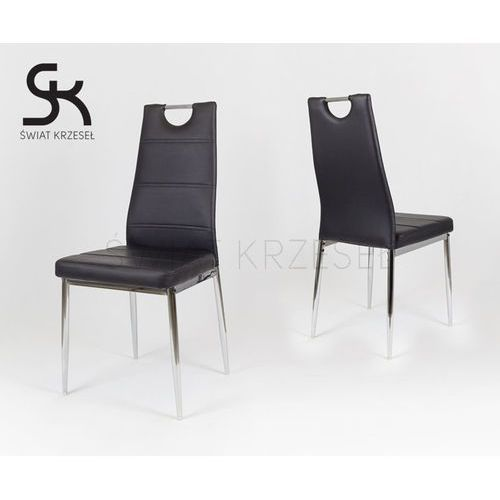 Sk design  ks017 czarne krzesło z ekoskóry na chromowanym stelażu - czarny