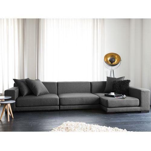 Sofa narożna L - ciemnoszara - tapicerowana - narożnik - CLOUD