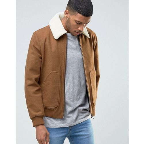 wool harrington with removable faux shearling collar in camel - tan, River island