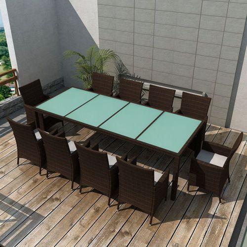 Vidaxl zestaw mebli ogrodowych, 21 części, polirattanowy, brązowy (8718475501749)