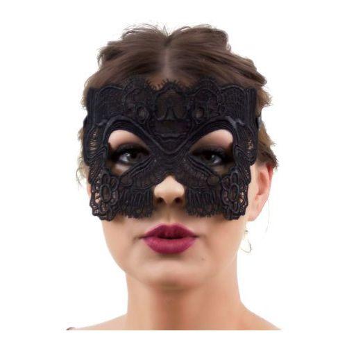 Maska wenecka ażurowa koronkowa czarna marki Iloko