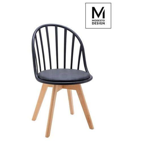 Modesto krzesło albert czarne - polipropylen, ekoskóra, drewno bukowe marki Sofa.pl