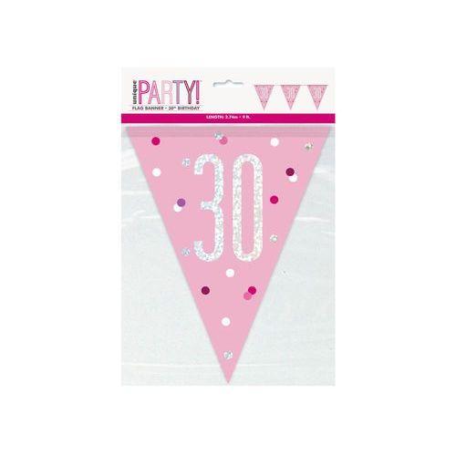 Baner flagi różowy z nadrukiem 30 - 274 cm - 1 szt. marki Unique