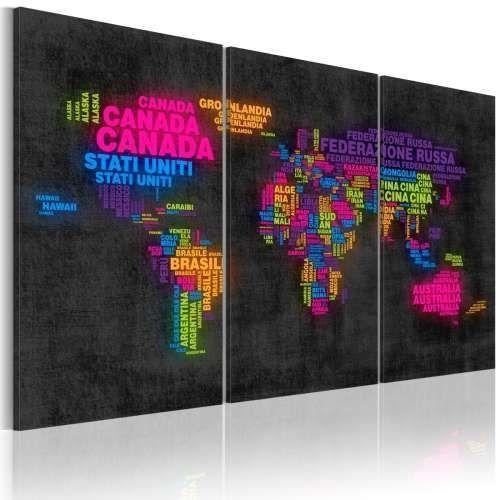 Obraz - Mapa świata - nazwy państw w języku włoskim - tryptyk