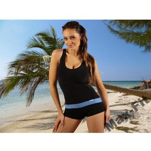 Strój kąpielowy damski jednoczęściowy sk0021 z niebieskim paskiem marki Stanteks