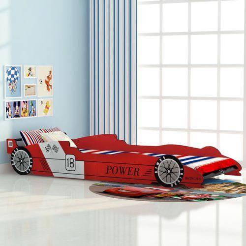vidaXL Łóżko dla dzieci Samochód wyścigowy 90x200 cm czerwone (8718475964711)