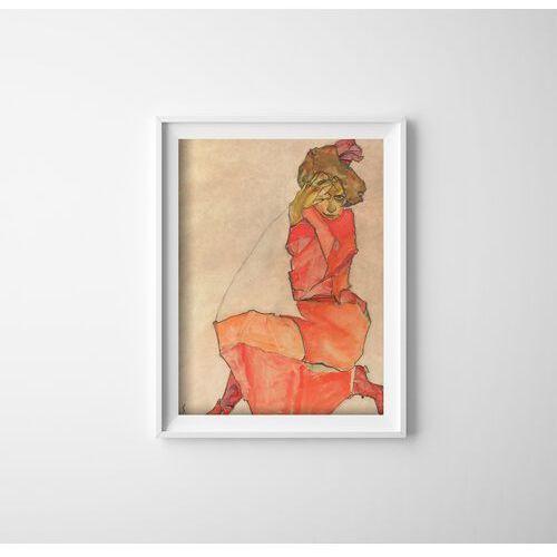 Plakat vintage do salonu Plakat vintage do salonu Klęcząca kobieta Egon Schiele