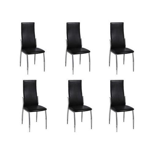 Krzesła kuchenne w kolorze czarnym z chromowanymi nogami (6 szt.), kolor czarny