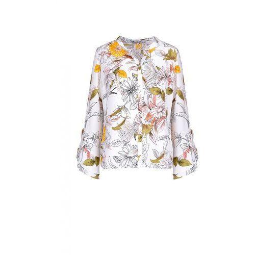Elegancka bluzka z falbanami przy rękawach - EMOI, kolor biały