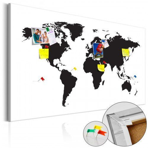 Obraz na korku - Mapa świata: Czarno-biała elegancja [Mapa korkowa], A0-Pinnwand576 (7809870)