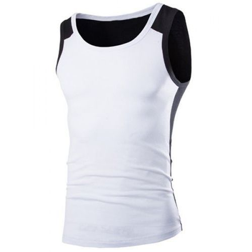Slimming Stylish Round Neck Color Block Splicing Sleeveless Polyester Tank Top For Men