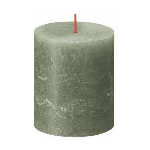 Bolsius Świeca pieńkowa rustic shine oliwkowa wys. 8 cm