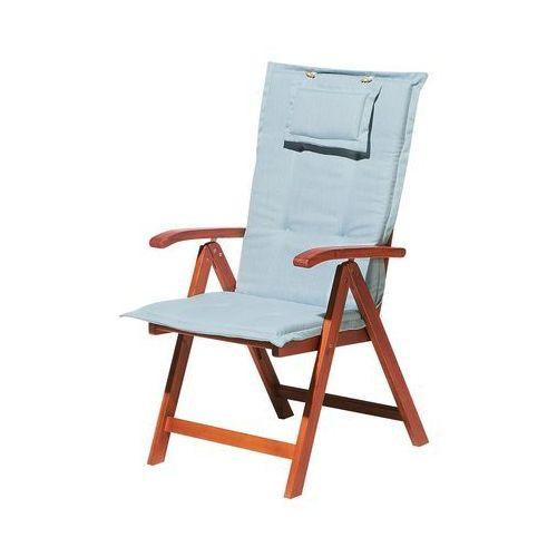 Krzesło ogrodowe drewniane poducha jasnoniebieska toscana marki Beliani