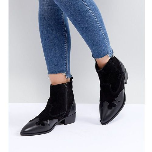 wide fit leather western ankle boots - black, River island