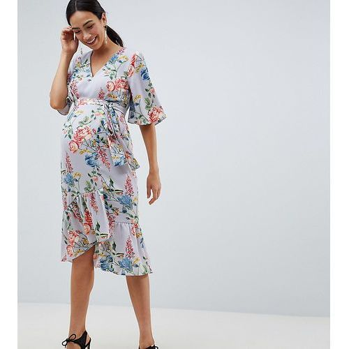 Asos maternity Asos design maternity floral print kimono sleeve wrap midi dress - multi