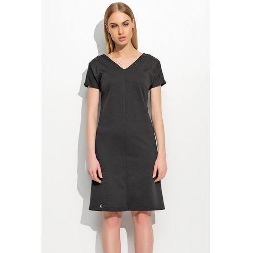 Czarna Klasyczna Sukienka z Dekoltem V z Krótkim Rękawem, kolor czarny