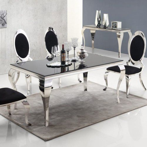 Stół glamour ludwik - stal szlachetna blat szklany nowoczesny marki Bellacasa