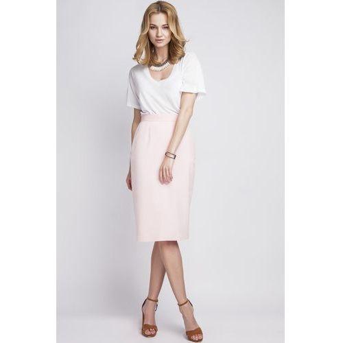 Ołówkowa różowa spódnica midi z wysokim stanem marki Lanti