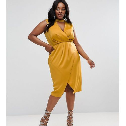 ASOS CURVE Choker Neck Detail Drape Front Midi Dress - Yellow