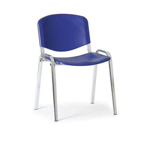Plastikowe krzesło ISO, niebieski - kolor konstrucji chrom, kolor niebieski