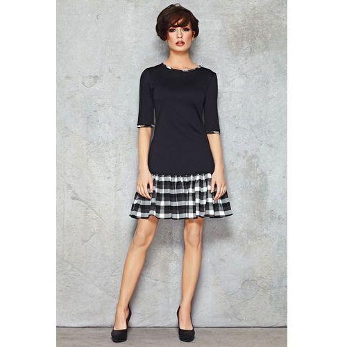 Czarno-biała ciekawa sukienka do pracy z falbanką w kratkę, Infinite you, 36-42