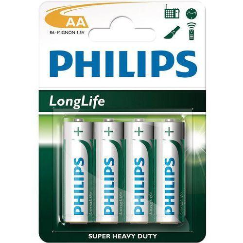 Philips 4 x bateria cynkowo-węglowa longlife r6 aa (blister) (8712581549640)