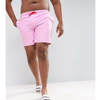 plus swim shorts in pink with red contrast drawcords mid length - purple, Asos, XXL-XXXXL