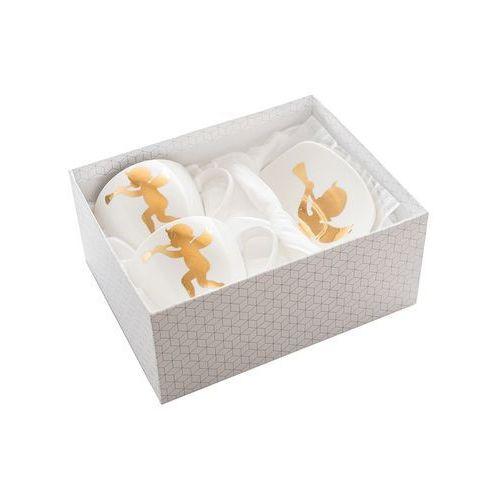 2 filiżanki anioł z łyżeczkami porcelanowe marki Queen isabell