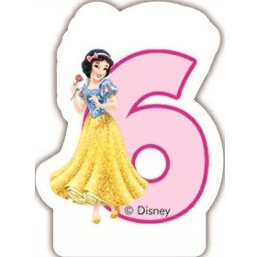 Party world Świeczka w kształcie cyfry 6, disney princess (5201184828991)