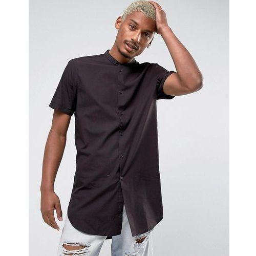 regular fit super longline shirt with grandad collar in faded black - red marki Asos