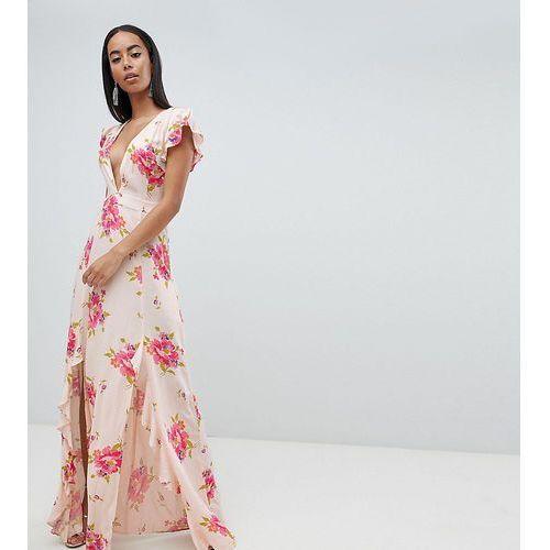 Asos design tall plunge maxi dress in floral print - multi marki Asos tall