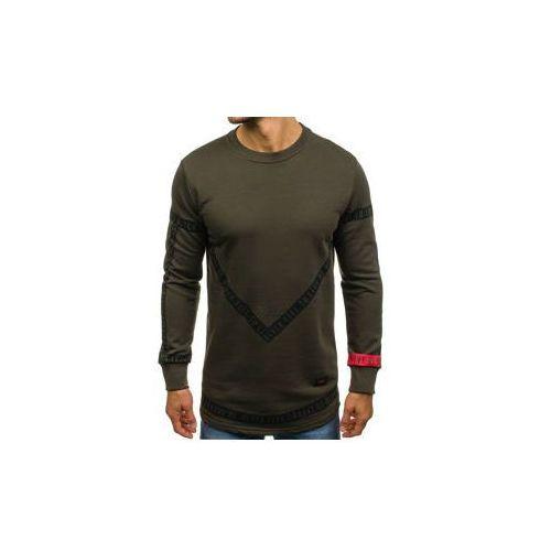Długa bluza męska bez kaptura z nadrukiem zielona Denley 171545