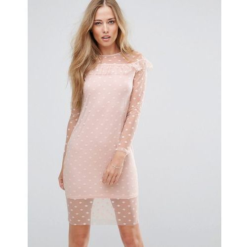 mesh frill detail dress - pink, Parisian