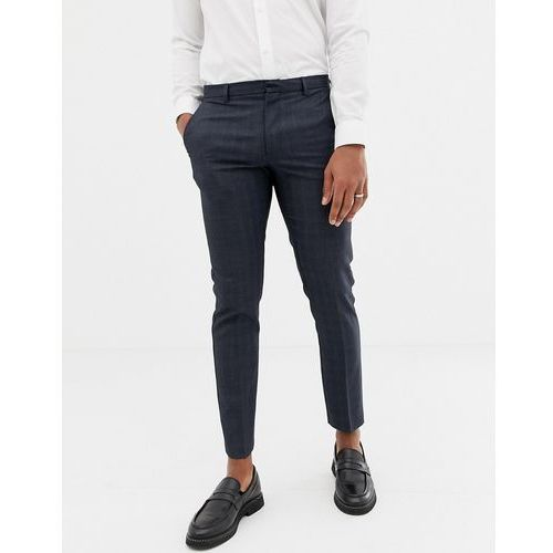 Burton Menswear smart trousers in navy check - Navy, kolor szary
