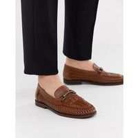 leather woven snaffle loafer in brown - brown marki River island