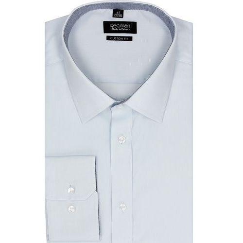 koszula bexley 2385 długi rękaw custom fit niebieski, bawełna