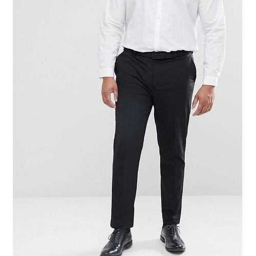 River island big & tall slim fit smart trousers in black - black
