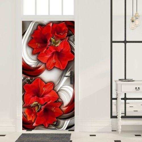 Artgeist Fototapeta na drzwi - tapeta na drzwi - abstrakcja i czerwone kwiaty