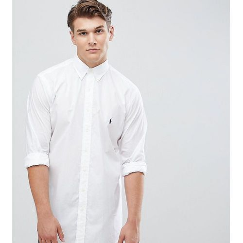 Polo ralph lauren big & tall poplin shirt player logo button down in white - white