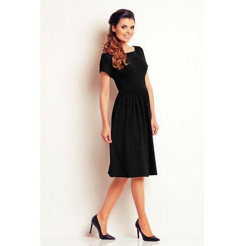 Awama Czarna lekka sukienka midi z marszczonym dołem