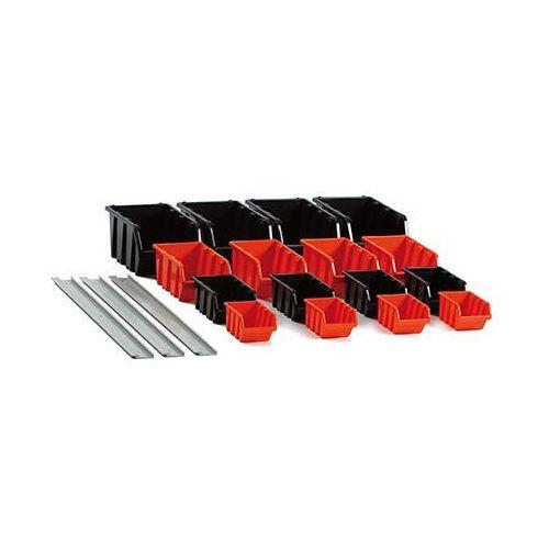 Zestaw 16 Pojemników Kuwet Magazynowych Na Ścianę SetTruck NPST16 PROSPERPLAST