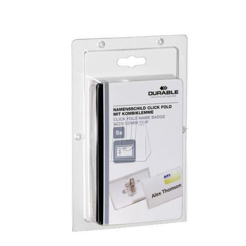 Identyfikator Durable z kombi-klipem Click Fold 54 x 90mm 5 szt. 8693-19 (4005546803562)