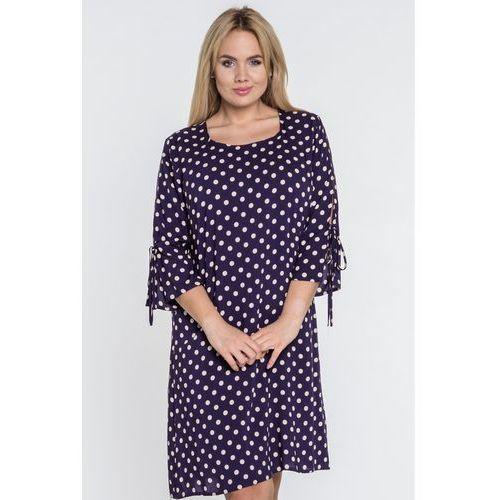 Granatowa sukienka w kwiaty - Jelonek, 1 rozmiar