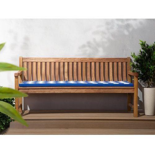 Beliani Ławka ogrodowa białe drewno balau z poduszką niebiesko-białą java