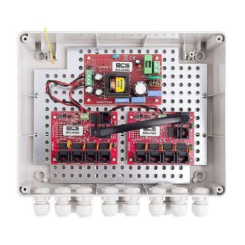 Bcs -ip8/z/e-s zestaw zasilania do 8 kamer ip ze switchem w obudowie zewnętrznej bcs