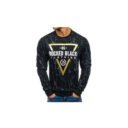 Bluza męska bez kaptura z nadrukiem czarna denley dd15, J.style