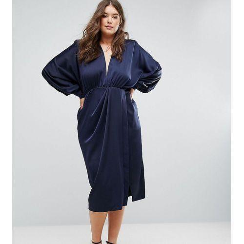 ASOS CURVE Shoulder Pad Long Sleeve Selenia Midi Dress - Navy, kolor niebieski