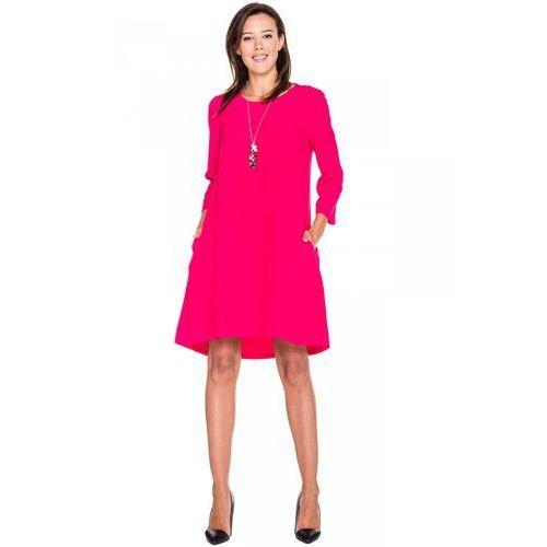 Sukienka w kolorze malinowym z długim rękawem - Bialcon