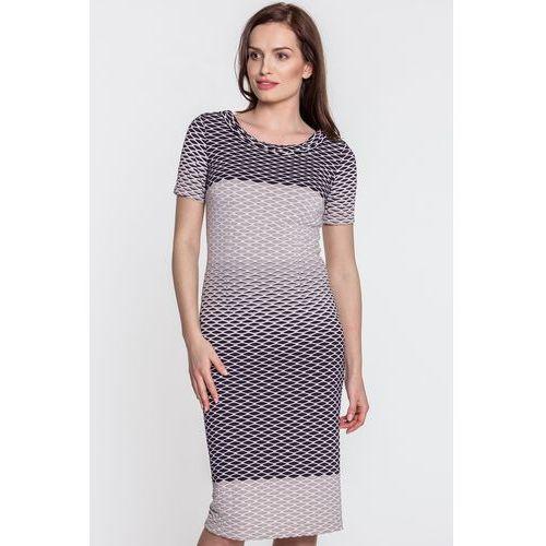 Beżowa, wzorzysta sukienka - marki Vito vergelis