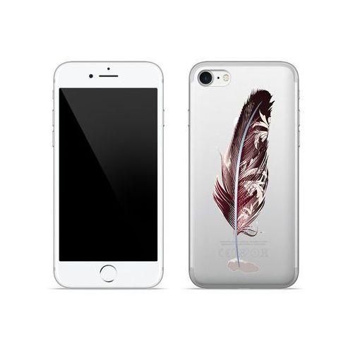 Apple iPhone 8 - etui na telefon Crystal Design - Bordowe pióro, kolor czerwony
